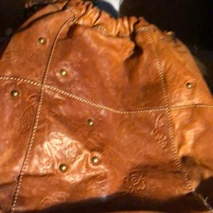 Fossil Leather Flower Embossed Bag
